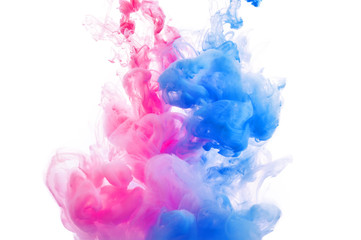 Abstract blue and pink ink background