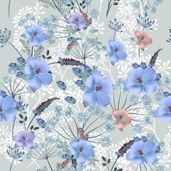 Floral vector pattern in vintage style for design