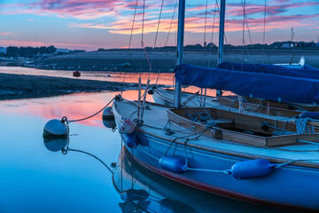 Yachts on their moorings at Bembridge Harbour, Isle of Wight, England, UK