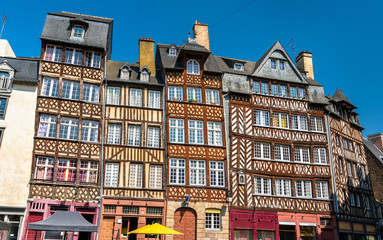 Traditional half-timbered houses in the old town of Rennes, France