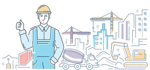 Construction - modern colorful line design style illustration