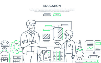 Education - modern colorful line design style banner