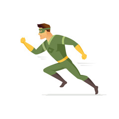 Running superhero - modern cartoon people character illustration
