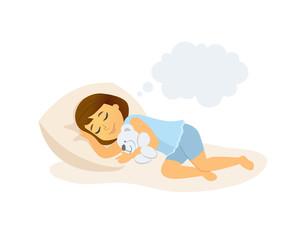Sleeping girl - cartoon people character isolated illustration