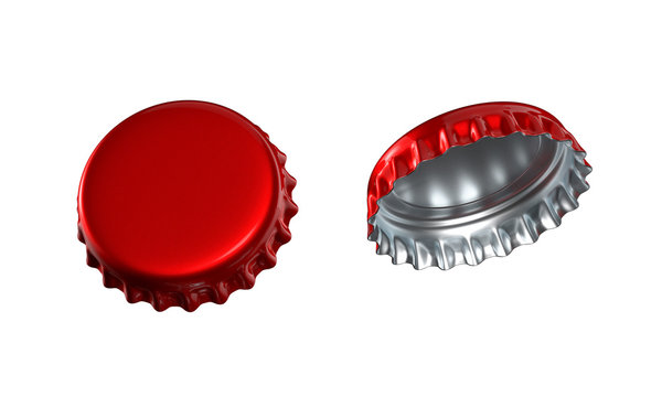 3d render, red gold bottle caps set, lids, isolated on white background