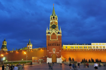 Night view of Kremlin wall and Spasskaya Tower on Red Square in Moscow, Russia.