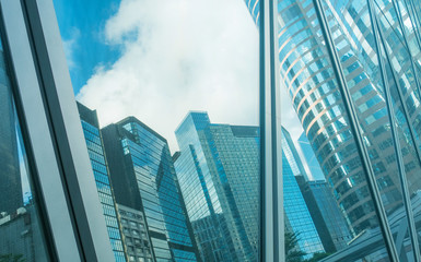 Modern business buildings against blue sky