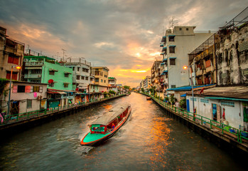 Public Boat or Water Bus go through Old Town Area in Khlong Saen Saep Canal in Bangkok, Thailand, Water Transportation