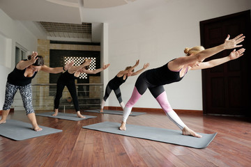 Group of young Caucasian women strengthening their bodies by practising yoga with qualified female yoga teacher indoors