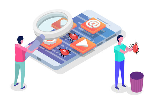 Mobile application development, testing and prototyping process isometric vector. Fpp Interface building.
