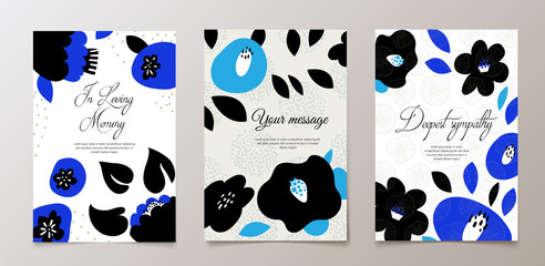 Fashionable funeral card, death notice. Vector design