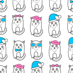 Seamless patterns with cats, glasses, hats and bows.