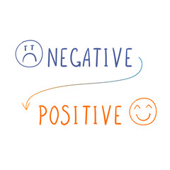 Vector Negative - Positive Image, Doodle Smiley Faces and Handwritten Words.