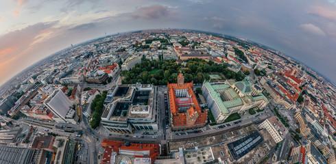 Munich city air drone 360 vr virtual reality panorama