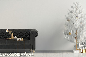 Modern Christmas interior with sofa, Scandinavian style. Wall mock up. 3D illustration