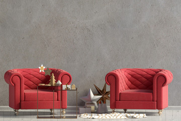 Modern Christmas interior with chairs, Scandinavian style. Wall mock up. 3D illustration