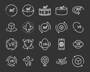 set of vr 360 degree line icons