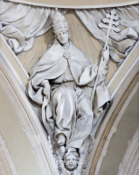 REGGIO EMILIA, ITALY - APRIL 12, 2018: The relief of St. Gregory the Great doctor of the West Catholic Church in church Chiesa di San Agostino by Paolo Emilio Besenzi  (1608 – 1656).