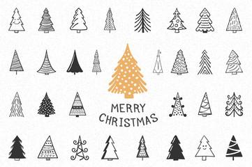 Hand Drawn Christmas Trees