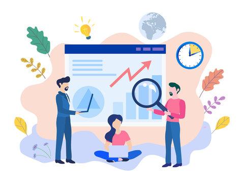 Concept Ux User Experience Development Design Usability Improve software develop company. UI Interface experiment design improve Vector illustration project guide build Web app Computer, responsive