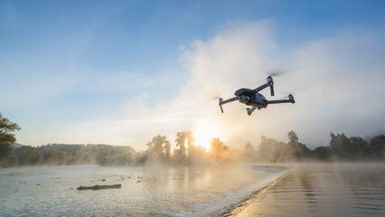 Drone copter with digital camera, blur background