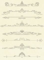 Set of vintage line dividers vector illustration