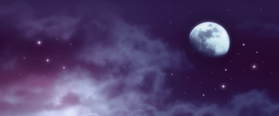 Cosmic background of night sky with stars, mysterious clouds and moon. Moon is taken by me with my camera.