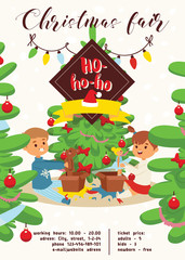 Christmas 2019 Happy New Year greeting card vector boy s brothers find gifts near tree friends background banner holidays winter xmas congratulation New Year poster or web banner illustration