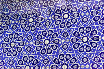 Perspective shoot of blue tone islamic ornamental patterns
