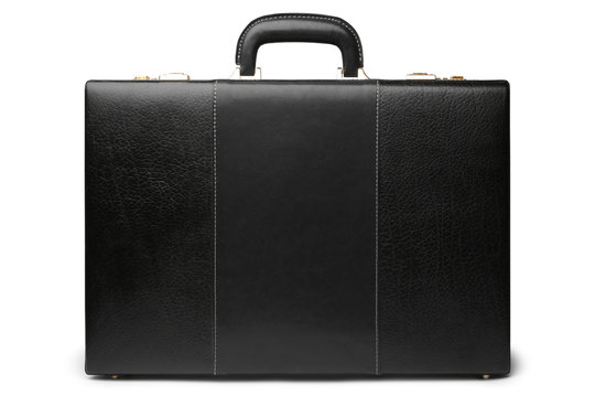 Black leather business briefcase