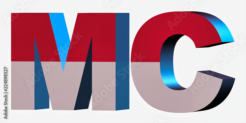 3d Country Short Code Letters - Monaco