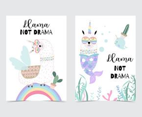 Blue pink hand drawn cute card with llama, glasses,cactus and rainbow in summer.No drama llama, Llama not drama