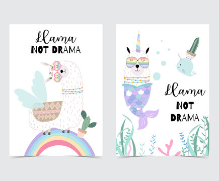 Blue pink hand drawn cute card with llama, glasses,cactus and rainbow in summer.No drama llama, Llama not drama