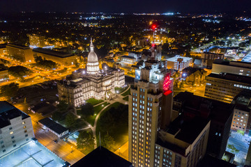 Downtown Lansing Michigan Night Aerial Photo Wall mural