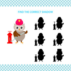 Find the correct shadow kids educational game. Cartoon owl firefighter with hydrant