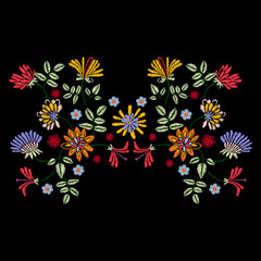 Embroidery symmetric pattern with ethnic flowers. Vector embroidered traditional floral design for fashion fabric.