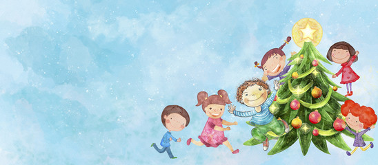 Happy children with Christmas tree. Watercolor on canvas. Background