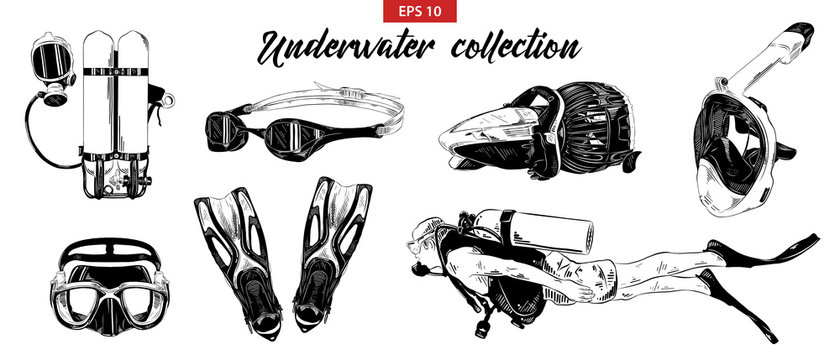Vector engraved style illustration for posters, decoration. Hand drawn sketch of scuba diving, underwater and snorkeling set isolated on white background. Detailed vintage etching drawing.
