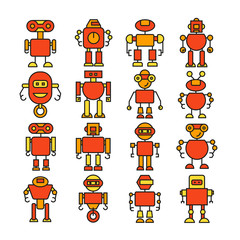 robot cartoon character icons orange color theme