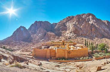 Panorama of St Catherine monastery and rocky mountain range, Sinai, Egypt