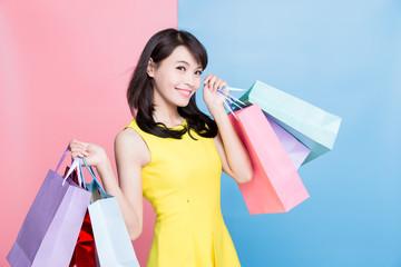 woman take shopping bag