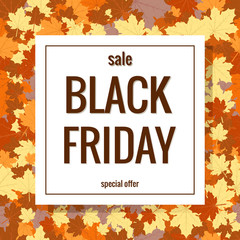 Black Friday. Autumn Sale. Background with leaves