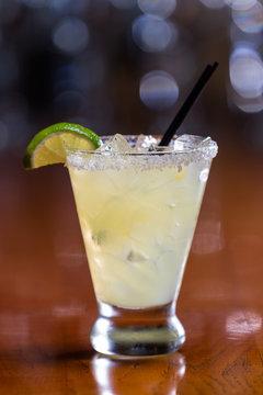 refreshing margarita on a bar