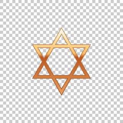 Golden Star of David isolated object on transparent background. Jewish religion symbol. Flat design. Vector Illustration