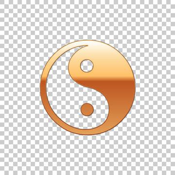 Golden Yin Yang symbol of harmony and balance isolated object on transparent background. Flat design. Vector Illustration
