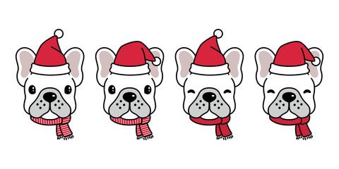 dog vector french bulldog Christmas Santa Claus Xmas hat scarf cartoon character logo icon illustration white