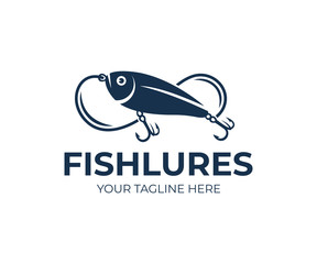 Fishing lures and fish lures, fish, fishing line and hooks, logo design. Animal, wildlife and angling on nature or river, vector design and illustration