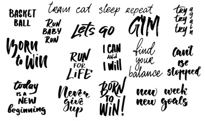 lettering set / sport motivation phrases / brush lettering