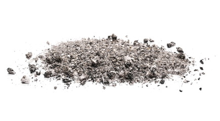 Ash pile isolated on white background, texture