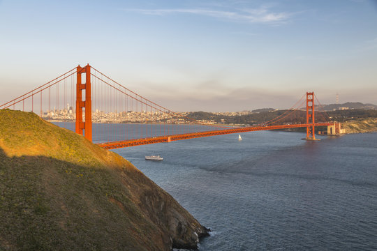 View of Golden Gate Bridge from Golden Gate Bridge Vista Point at sunset, South Bay, San Francisco, California